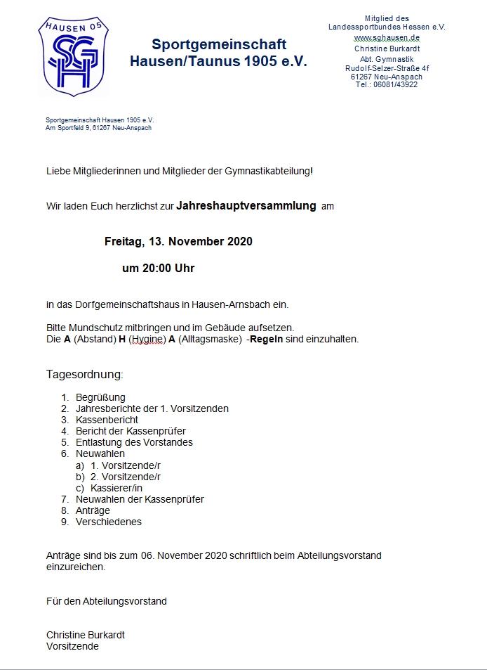 Jahreshauptversammlung der Gymnastikabteilung @ DGH Hausen