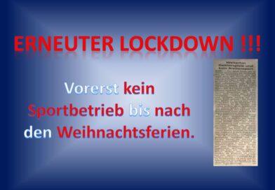 Erneuter Lockdown!!!
